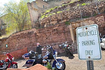 Motorcycles line up in front of the motorcycle wall in Jerome Friday. VVN/Vyto Starinskas