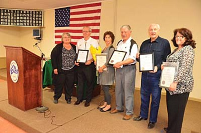 Jerome Elks Lodge #1361 in Clarkdale had its award night Thursday and Lodge President Janet Lever presented awards to Al Hennenham, Grand Lodge Citation, Darlene Boudreau, Citizen of the Year, Vince Guinta, Elk of the Year, Tony Lamattina, Grand Lodge Citation and Sari McQualty, Officer of the Year, left to right. VVN/Vyto Starinskas