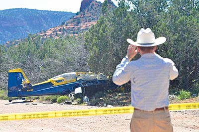 The plane, an F1 Rocket experimental model, contained two people who both received non-life threatening injuries. EMS personnel were on scene to treat the injured parties. The pilot was transported to Verde Valley Medical Center and his passenger to the Sedona Medical Center. VVN/Vyto Starinskas