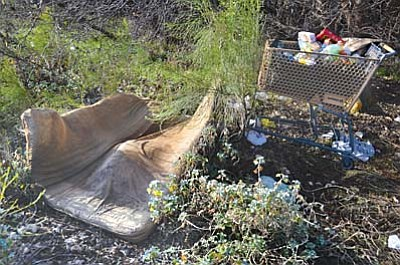 Shopping carts and mattresses in the Cottonwood area were photographed at the end of January 2015 during the area's homeless count. VVN file photo by Vyto Starinskas