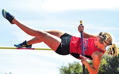 Mingus' Allison Whitworth jumps the pole vault in Saturday's Red Rock Invitational. Whitworth finished first, jumping 9 feet 3 inches. She also finished third in the high jump and fourth in the long jump. VVN/Vyto Starinskas<br /><br /><!-- 1upcrlf2 -->