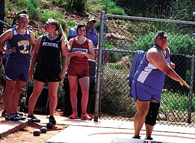 Camp Verde High School's Viola Logston and Sedona Red Rock High School's Hannah Ringle, rank 1-2 in the state this week in the shot put, with respective throws of 39-feet, 9-inches for Logston and 37-10 for Ringel.
