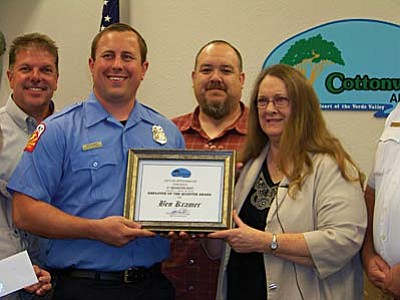 Ben Kramer is recognized by Cottonwood City Council as its Employee of the Quarter.
