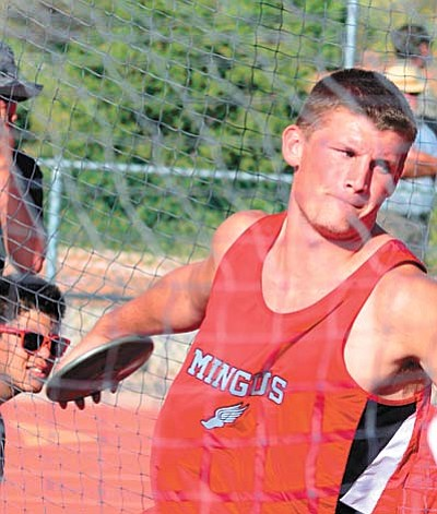 Mingus' Trevor Galloway finished first in the discus with a throw of 140 feet 1 inch. Galloway credits the coaching of Lacy Brown. VVN/Derek Evans.