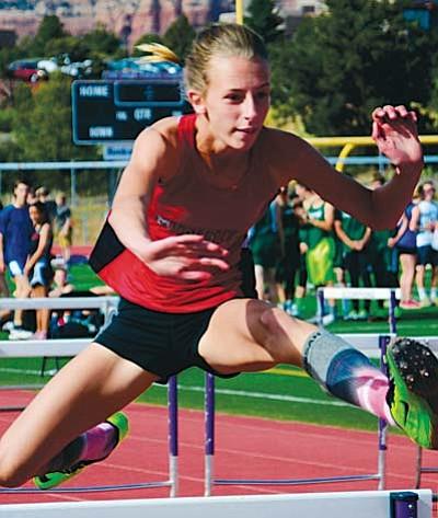 Mingus' Hannah DeVore finished in the 300 meter hurdles and fifth and the 100 meter hurdles at Ironwood's Last Chance Qauilfer. VVN/Derek Evans