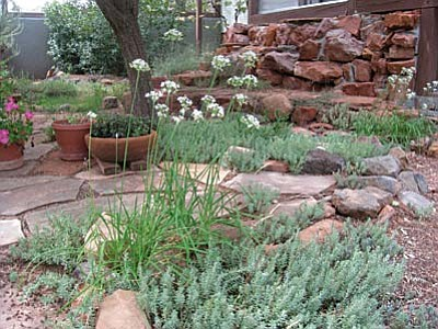 Perennial flowers and shrubs surround this rock garden.