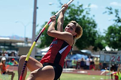 Allison Whitworth, a senior,  competes in the Division III girls pole vault on Saturday at Mesa Community College Whitworth placed seventh in the pole vault and sixth in the high jump. VVN/Derek Evans
