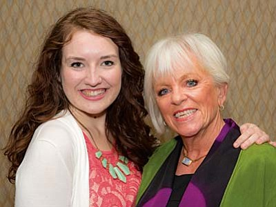 NAWBO's Shining Stars Scholarship Chair Patricia Wheat presented Red Rock High's Sophia Angeles Harness with the $1500 scholarship.