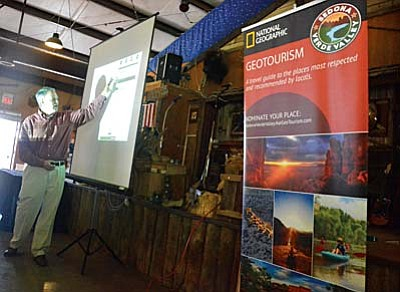 Jim Dion makes his presentation to the business owners at the Blazing M Ranch in Cottonwood. VVN/Vyto Starinskas