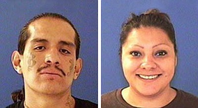 Curtis Ricky Lopez (left) was arrested on charges of kidnapping, misconduct with weapons, aggravated assault per domestic violence, and threatening/intimidating per domestic violence. Police are still looking for 37-year-old Renee Rachelle Macias (right), a person of interest wanted for questioning in the case.