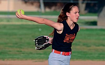 Audrey Norman gets ready to pitch in Tuesday's game vs the Verde Valley Little League Alabama Crimson Tide. Head coach Jason Freeman said his team is