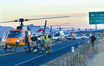 On Nov. 21, 2014 five medical helicopters and numerous ground ambulances were needed to transport all the patients to hospitals in Flagstaff, Phoenix and Cottonwood.  (Photo by VVN/Vyto Starinskas)
