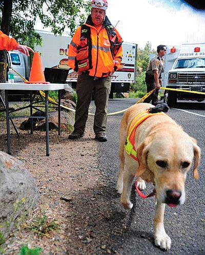 "Yavapai County Search Dog unit members Tony Turek and ""Hogan"" help in the search June 5 for 14-year-old Kadence Swift near Lynx Lake. Searchers found the girl safe after many hours and searching through the night. (Les Stukenberg/The Daily Courier, file)"