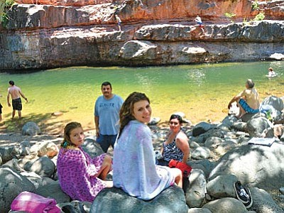 The Sargent family from Peoria came up to Sedona for the day to Grasshopper Point in Sedona to escape the 113 degree temperatures and enjoyed their experience tremendously. VVN/Vyto Starinskas