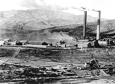 The former United Verde smelter in Clarkdale. operated in an era before emissions control equipment was commonly used, historical air emissions from the smelter may have deposited metal-bearing particles (lead, arsenic and copper) on nearby soil.  Photo courtesy of Town of Clarkdale