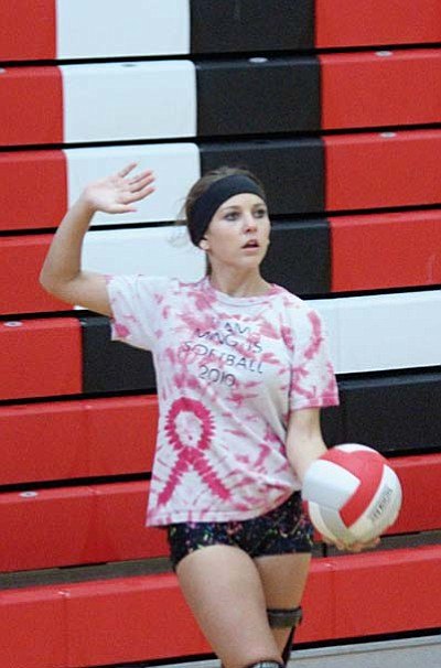 Morgan Mabery serves the ball during an intrasquad scrimmage in practice on Friday. VVN photo by Greg Macafee.