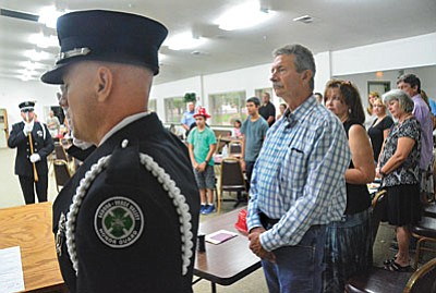 Friends, colleagues and family gathered to celebrate Jerry Doerksen's 40 years of fire service in the Verde Valley Friday. VVNJ/Vyto Starinskas