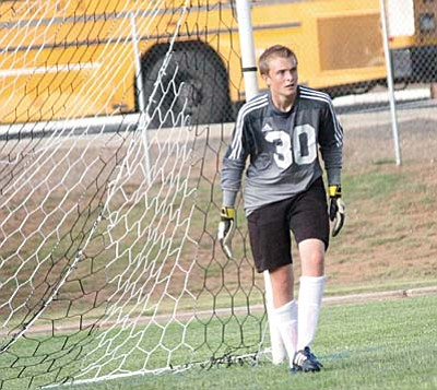 Camp Verde goalkeeper Preston Maynard gets ready for a shot before their three-way scrimmage with Phoenix Country Day and Payson. Maynard only surrendered one goal in his first start between the pipes. VVN photo by Greg Macafee