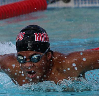 A Mingus swimmer competes in the 50m butterfly during their meet with Verrado last week. VVN file photo by Greg Macafee