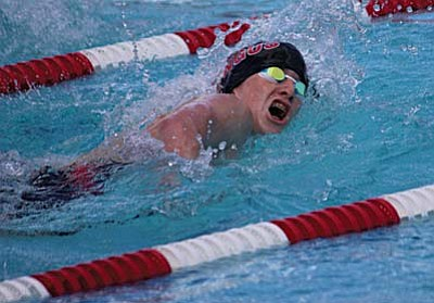 Sophomore Gunner Tillemans swims during one of his events on Tuesday. VVN photo by Greg Macafee