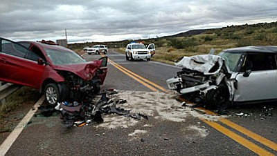 The initial investigation, according to a news release from YCSO, indicates that the BMW, driven by 19-year-old Julian Dallen from Cottonwood, crossed into oncoming traffic after he fell asleep. Dallen's 17-year-old brother was a passenger in the vehicle. Dallen suffered a broken right arm and leg along with facial cuts and was admitted to a local hospital. His brother received minor injuries and was treated at a local hospital. The driver of the Hyundai sedan, a 41-year-old Rimrock woman, had no time to avoid the wrong way driver and was injured following the collision. She suffered several broken bones and was transported to Flagstaff Medical Center in serious condition for expected surgery. The driver of the Acura, a 57-year-old Sedona woman, was not injured. (Photo courtesy of YCSO)<br /><br /><!-- 1upcrlf2 -->
