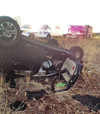 The rollover occurred on I-17 at milepost 306 in the median, about 8 miles north of the Sedona interchange. (Photo courtesy of MRFD)