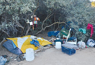 Tent sites used by homeless people in the Cottonwood area Monday morning were clean and neat, but  some were covered in extra blankets with the cold weather. VVN/Vyto Starinskas