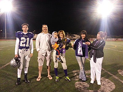 Senior Night at Sedona-Red Rock's last home football game: Pastor Jim  with his mom (Judith Cunningham), wife (Cindy), daughter (Micheala - the senior in football gear) and son (Branaghan, also in football gear) and youngest son (Ashton).