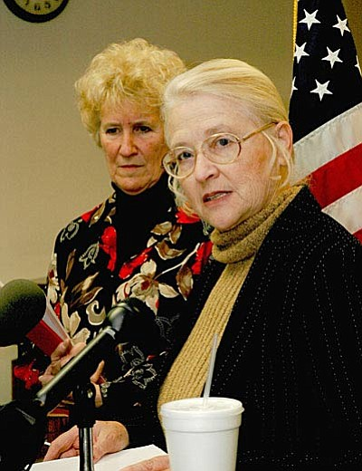 Sen. Karen Johnson, left, and then-Rep. Judy Burges, now a senator, explain why they introduced legislation approved in 2008 to block the state from issuing licenses compliant with the federal Real ID Act. (Capitol Media Services file photo by Howard Fischer)