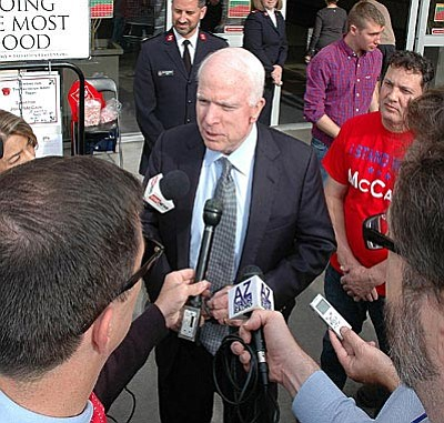 John McCain answers questions Monday about friend Lindsey Graham dropping out of the presidential race and his own fate as he seeks another six years in the U.S. Senate.  (Capitol Media Services photo by Howard Fischer)