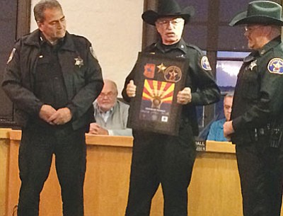 Clarkdale Chief of Police Randy Taylor received honorary Arizona Ranger recognition during the Jan. 12 Town of Clarkdale Council meeting. (VVN/Tom Tracey)