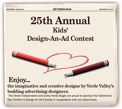 The student-designed advertisements appeared in the pages of a special print section published Sunday, Feb. 7, 2016 in both the Verde Independent and the Camp Verde Bugle newspapers.