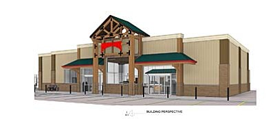 A rendition of the new Maverik in Cottonwood. The concept is proposed as part of a conditional use permit to be considered by the Planning and Zoning Commission at its Feb. 22 meeting.