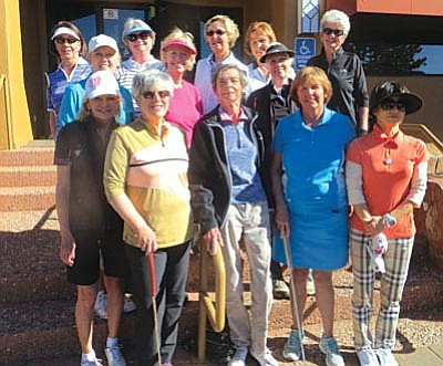 Front Row: Kathy Huff , Ringer Tournament Chair. Jane Weinberg, treasurer. Donna Cantello, to the right of Sandy Bruns, Vice President. Liz Chang, representative to AWGA (Arizona Women's Golf Association).  Second Row: Margi Honea, Secretary and Julie Larson, Past President and Publicity. Historian, Barbara Gordon. <br /><br /><!-- 1upcrlf2 -->Third Row: Lori Zaun and Donna Cantello, Team Competition. Joy Hope, chairs the Greens Committee. Sandy Marion, co-chair Michelle Stoor (not present),Handicap. Connie Rupiper and Co-chair Christine Burdette (absent), Social affairs. Carol Meiner, Interclub events. Not present Sally Sieberts, Rules chair, and Dawn Bush and Tara Miller, Weekly games and Yearly tournaments. Marion Maby, representative, Northern Arizona Golf Association and Becky Rubin, Web Master!