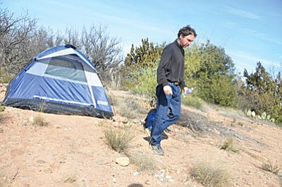 James Haden was living in this tent in the Cottonwood area with other homeless people a little more than a year ago. Now he has a place to live and a good job. VVN/Vyto Starinskas