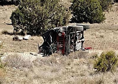This 2007 Jeep Wrangler was carrying three passengers at the time of the accident, including a 17-year boy from Paulden, a 14-year-old boy from Chino Valley, and the 23-year-old driver, Zachary Geise from Cave Creek. Geise died as a result of his injuries. (Photo courtesy of YCSO) <br /><br /><!-- 1upcrlf2 -->