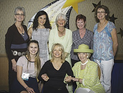 Award recipients from the 2016 Shining Stars are, left to right, front row, Lezah Richardson, Young Woman Entrepreneur Scholarship; Linda Goldenstein, Goldenstein Gallery, Trailblazer Award; Pat Foster, The Welcomers, Non-Profit Award; back row, Janice Dahl, Great Story!, Mary Schnack Spirit of NAWBO Sisterhood Award; Danette Wolpert, ILLUMINATE Film Festival, Visionary Award; Sandy Brandvold, SedonaKind, Humanitarian Award; Linda Haggard, Sedona Integrative Medical Clinic & Sedona MediSpa; and Kathy Cox, Your Team at Remax, Community Involvement.