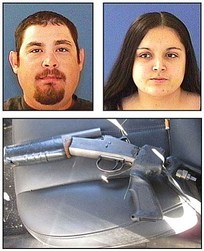 Jesse Joe Sanchez III and Meissa Lomeli (above).<br /><br /><!-- 1upcrlf2 -->Below is photo of the sawed-off shotgun officders found in vehicle.