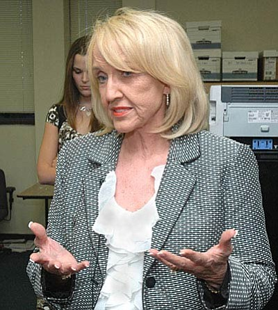 """Former governor Jan Brewer said Donald Trump """"needs to really focus on the policy and let people know that he is a leader, he can be trusted, that he will surround himself with good people and that he is a good listener.''<br /><br /><!-- 1upcrlf2 --> (Capitol Media Services file photo by Howard Fischer)"""