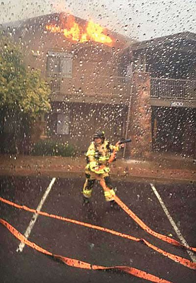 A lightning strike hit the roof of the Wyndham Resort in Sedona, but Sedona firefighters quickly responded and contained it to one of the eight units in the building on Wednesday. Courtesy Sedona Fire Department