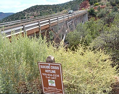 The number of suicides at Midgley Bridge during the year 2015 was four in three months, equaling the number of fatalities over the previous four years combined, according to Coconino Sheriff Office data. While total suicides at the bridge this year remain at one, 11 people have jumped to their death from the bridge over the past decade. (VVN/Vyto Starinskas)