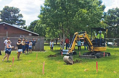 Phase 1 of construction is underway after organizers broke ground Wednesday for the Verde Valley Military Service Park at Cottonwood's Garrison Park at 39 Brian Mickelsen Pkwy. (VVI/Jennifer Kucich)