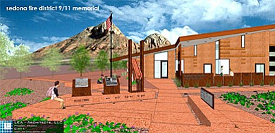 An artist's rendering of the 9/11 Memorial for the Sedona Fire District. The centerpiece of the memorial is a steel girder recovered from the World Trade Center ruins. The dedication ceremony is scheduled for Sunday. (Courtesy Photo from Sedona Fire District)