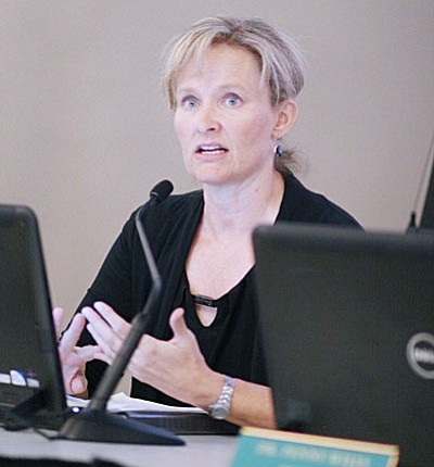 """At Tuesday's Yavapai College District Governing Board meeting, Chairman Patricia McCarver announced that the Verde Valley Board Advisory Committee would be suspended at the end of September. The VVBAC had """"completed the work that we asked them to do."""" (Photo by Bill Helm)"""