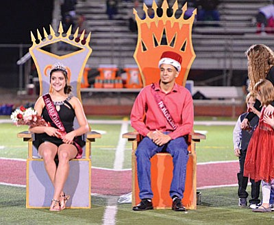 Kiana Kreiner and Victor Hurtado are chosen Mingus High School 2016 Homecoming Queen and King at halftime of the Mingus Union High School football game Friday night. VVN/Vyto Starinskas