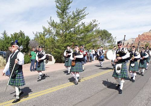<br>Submitted photo<br> Members of Southwest Skye Pipes and Drum march in the Saint Patrick's Day Parade in Sedona March 6.