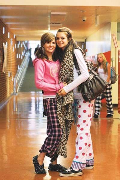 Ryan Williams/WGCN<br> Karinna Rotter and Jordan Pettit show their Viking spirit by dressing up Monday for pajama day.