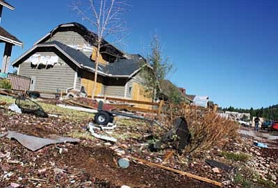 Ryan Williams/WGCN<br> Homes throughout the Flagstaff meadows subdivision sustained major damage when tornados descended on the Bellemont area.