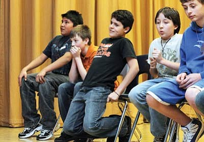 Ryan Williams/WGCN<br> Tension mounts for Josh Dodson, Braden Heap, Sergio Cardenas, Jordan Jaime and Andrew Karlsberger during the middle school spelling bee held Jan. 26
