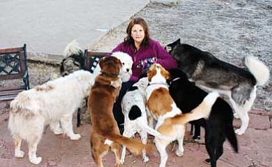 Clara Beard/WGCN<br> Robynn Eckel sits with her family of rescued dogs. All of the dogs came to Eckel as a result of her efforts with SAVE-Meant to Rescue, a non-profit organization she founded.